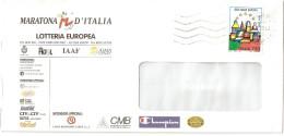 """BUSTA INTESTATA """" MARATONA D'ITALIA - LOTTERIA EUROPEA AFFRANCATA"""" ECU 044 - Bolivie"""