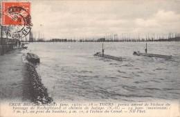 37 TOURS PORTES AMONT DE L ECLUSE DU BARRAGE DE ROCHEPINARD ET CHEMIN DE HALAGE / CRUE DU CHER JANVIER 1910 - Tours