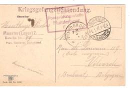 CP D'un Prisonnier De Guerre Situé à Munster En 1917 Censure Du Camp V.Vilvoorde C.d'arrivée PR3743