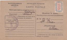 Be - RIORGES (42) Ravitaillement Général Pour Le Maire De St PRIX (03) Carte Postale Fiche De Contrôle - Riorges