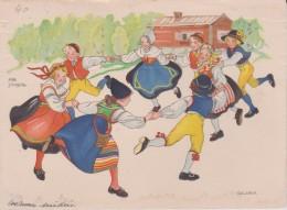 "Suede Illustrateur  Aina Stenberg ""  Danses En Costumes Suedois "" - Sweden"