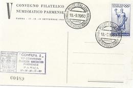 ANNULLO SPECIALE 1960 CONVEGNO FILATELICO NUMISMATICO PARMA - 6. 1946-.. Repubblica