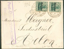 5 Centimes S/5 Pfg  Obl. Cad Pont De NEUFCHATEAU/Luxembourg Sur Enveloppe Vers Arlon + Censure- 115154 Verso : Lé - Guerre 14-18