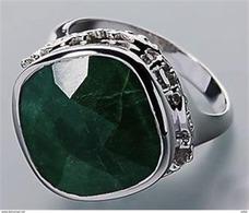Anello In Argento 925 Sterling Con  Smeraldo Arabo - Anelli