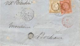 LETTRE DE NOUMEA NOUVELLE CALEDONIE 1876 AVEC CERES COLONIES GENERALES ADRESSEE EN FRANCE  COVER - Briefe U. Dokumente