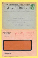 Enveloppes Publicitaires Michel Huglo Dépoussièrage Moderne+Société PhonographiquePhilips Tampon L'eau Vive De Guy Béart - Advertising