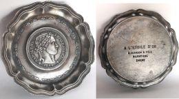 VIDE-POCHE, CENDRIER Argenté Pièce Uniface  NAPOLEON EMPIRE Fr.1804- PUB. A L'ETOILE D'OR R.CHARDON BIJOUTIER CAUDRY 59 - Publicité