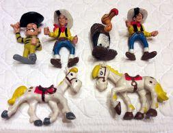 Lot 6 Figurines LUCKY LUKE- JOLLY JUMPER -DALTON-CONDOR -morris Dargaud Brabo - Monoblocs