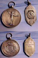 2 Médailles Argent SPORTS ALTERES Et POIDS Début XXe ET HANDBALL/DRAGO 1938 - Athletics