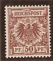 1899-1900 50pf Brun-rouge ** Sans Charniere Yvert 50a - Germany