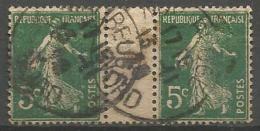 France - F1/220 - Type Semeuse Camée - N°137 Obl. Avec Interpanneau - 1906-38 Sower - Cameo