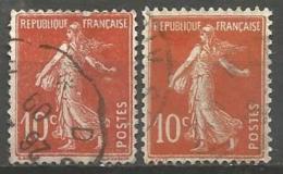France - F1/221 - Type Semeuse Camée - N°138 2ex. Obl. - 1906-38 Sower - Cameo