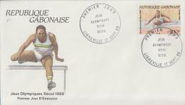 Enveloppe  FDC  1er  Jour   GABON    JEUX   OLYMPIQUES     SEOUL    1988