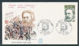 1982 Env 1er Jour N°1280 Jules Vallès - Le Puy - 1980-1989