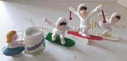 3 Figurines Publicitaires GLACES GERVAIS- ESQUIMAU Et Jouet à Tirer CHAMBOURCY - Publicité