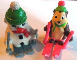 2 Figurines RODA - MARMOTTE A SKI LAPOUTROIE - BONHOMME DE NEIGE VOINSON BOULI - Familles