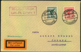 1927, Luftpostbrief Ab SCHWARZA (SAALBAHN) Mmit Bestätigungsstempel Coburg 1 - Germany