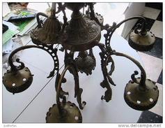 RARE : ANCIEN LUSTRE A SIX BRANCHES XIXème - Lamps