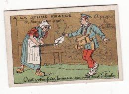 Chromo  A LA JEUNE FRANCE   Paysanne Et Facteur     Chromo Petit Format - Chromos