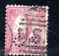 T1755 - NEW SOUTH WALES 8  Pence Wmk Crown On NSW  Used . Punctured OS - 1850-1906 New South Wales