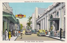 El Salvador San Salvador Calle Oriente Street Scene Curteich - El Salvador