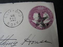 USA Cv. Clifford North Dak.  Star  Cancelation   1893  ! - Interi Postali
