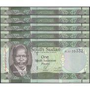 TWN - SOUTH SUDAN 5 - 1 Pound 2011 Prefix AL UNC DEALERS LOT X 5 - FREE SHIPPING On Orders Over EUR 150 - Sudan Del Sud