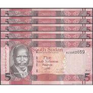 TWN - SOUTH SUDAN 6b - 5 Pounds 2015 Prefix AL UNC DEALERS LOT X 5 - FREE SHIPPING On Orders Over EUR 150 - Sudan Del Sud