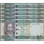 TWN - SOUTH SUDAN 7b - 10 Pounds 2015 Prefix AL UNC DEALERS LOT X 5 - FREE SHIPPING On Orders Over EUR 150 - Sudan Del Sud