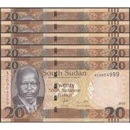 TWN - SOUTH SUDAN 8A - 20 Pounds 2015 Prefix AC UNC DEALERS LOT X 5 - FREE SHIPPING On Orders Over EUR 150 - Sudan Del Sud