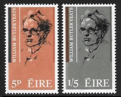 Ireland, Scott # 200-01 Mint Hinged William Butler Yeats,  1965 - 1949-... Republic Of Ireland
