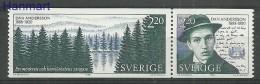 Sweden 1988 Mi Par1508-1509b MNH -  Signatures / Manuscripts Czeslaw Slania Writers / Poets Trees And Forests  ( ZE3 SWD