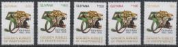 GUYANA, 2016, MNH,GOLDEN JUBILEE OF INDEPENDENCE, FELINES JAGUARS, 5v - Big Cats (cats Of Prey)