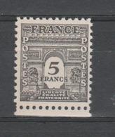 FRANCE / 1944 / Y&T N° 628 ** : Arc De Triomphe Unicolore 5F Gris BdF Bas - Gomme D'origine Intacte - Unused Stamps