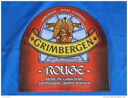 """Plaque Métal """"BIERE GRIMBERGEN""""  Rouge. - Advertising (Porcelain) Signs"""