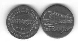 Jeton  Transports En Commun - Stationnement  Grand Besançon  ( 25 )  Le  Tramway  N°  71600  Recto  Verso - Frankrijk