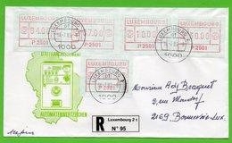 Luxemburg 1983 - ATM - Automatenmarken 2501 Auf FDC Einschreiben - Stempel 18.7.1983 Luxemburg 2 - Frankeervignetten