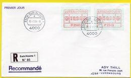 Luxemburg 1984 - ATM - Automatenmarken 2503 Auf FDC Einschreiben - Stempel Esch-sur-Alzette 10.7.1984 - Frankeervignetten