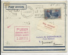 LIBAN - 1939 - POSTE AERIENNE - ENVELOPPE 1° LIAISON AEROPOSTALE De BEYROUTH à BUCAREST (ROUMANIE) - Liban