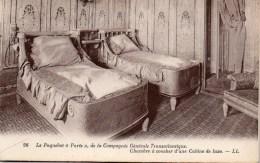 """Le Paquebot """"PARIS"""" De La Compagnie Générale Transatlantique; Chambre à Coucher D'une Cabine De Luxe - Steamers"""