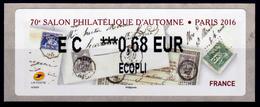 France, ATM Label,  Paris, Salon Philatélique D'Automne, 0,68€, 2016, MNH VF - 2010-... Illustrated Franking Labels
