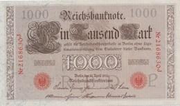 ALLEMAGNE - LOT DE 9 BILLETS DE 1000 MARKS 21/04/1910 AVEC NUMEROS ROUGES DE SERIE QUI SE SUIVENT: 2168630 J / 2168638 J - [ 2] 1871-1918 : German Empire