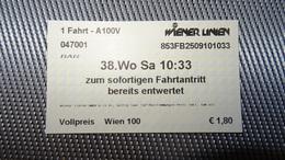 Metro Ticket From AUSTRIA (VIenna, Wien) - U-bahn Fahrkarte Year 2010 - Transportation