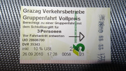 Cable Railway Ticket From AUSTRIA (Graz) - Bergschloss Fahrkarte Year 2010 - Transportation