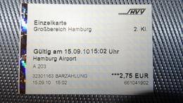 Metro Ticket From GERMANY (Hamburg Airport) - U-Bahn/S-Bahn Fahrkarte Year 2010 - Transportation