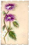 CPA  En CELLULOID  Peinte A La Main - FLEURS Violettes Et Blanches - Flowers