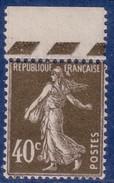 40 C Semeuse Camée Brun-olive Type 2 Haut De Feuille Avec Guillochis Court Des Feuilles Rotatives – Neuf Sans Char - 1906-38 Sower - Cameo