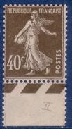 40 C Semeuse Camée Brun-olive Type 2 Bas De Feuille Avec Guillochis Court Des Feuilles Rotatives – Neuf Sans Charn - 1906-38 Sower - Cameo
