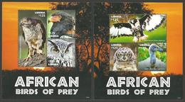 LIBERIA 2015 BIRDS OF PREY OWL GOSHAWK EAGLE VULTURE SET OF 2 SHEETS MNH - Liberia