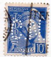 France N°546 - 10c Mercure Perforé C. N. - (CN) Perfin - Gezähnt (Perforiert/Gezähnt)